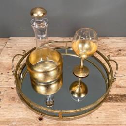 Σετ Γάμου Δίσκος Καθρέφτη 42*10εκ Καράφα Ποτήρι Χρυσή Διακόσμηση