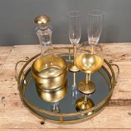 Σετ Γάμου Δίσκος Καθρέφτη 42*10εκ Καράφα Ποτήρι Κρασιού Σαμπάνιας Χρυσή Διακόσμηση