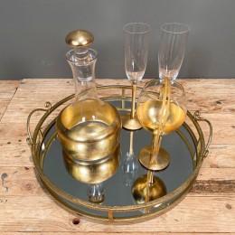 Σετ Γάμου Δίσκος Καθρέφτη 42*10εκ Καράφα Ποτήρι Κρασιού Σαμπάνιας Χρυσή Διακόσμηση Στέφανα Γάμου