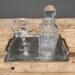 Σετ Γάμου Κουμπάρου Δίσκος Αλουμινίου 36*22εκ Κρυστάλλινη Καράφα Ποτήρι