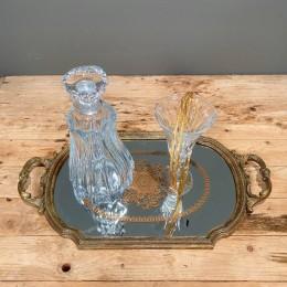 Σετ Γάμου Δίσκος Χρυσός 49*28εκ Κρυστάλλινη Καράφα & Ποτήρι Ασημένια Στέφανα Γάμου