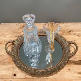 Σετ Γάμου Δίσκος Χρυσός 49*39εκ Κρυστάλλινη Καράφα & Ποτήρι Ασημένια Στέφανα Γάμου
