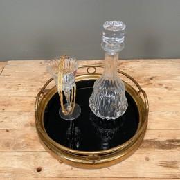 Σετ Γάμου Δίσκος Χρυσός 37*9εκ Κρυστάλλινη Καράφα & Ποτήρι Ασημένια Επίχρυσα Στέφανα Γάμου