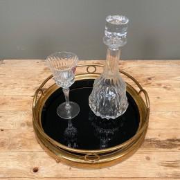 Σετ Γάμου Κουμπάρου Δίσκος Χρυσός 37*9εκ Κρυστάλλινη Καράφα & Ποτήρι