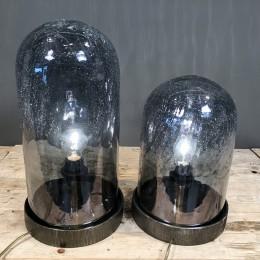 Φωτιστικό Διακοσμητικό Επιτραπέζιο Μεταλλική Βάση Κρακελέ Γυάλα Σετ 34εκ & 44εκ