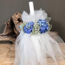 Λαμπάδα Βάπτισης Τούλι Λευκό Γιρλάντα Γυψοφύλλι Μπλε Ορτανσίες