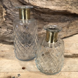 Μπουκάλι Διακοσμητικό Χρυσή Λεπτομέρεια Σετ 25εκ & 19εκ