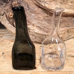 Βάζο Διακοσμητικό Γυάλινο Μπουκάλι Διάφανο & Γκρι Σετ 25εκ 24εκ