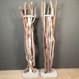 Σετ Βάσεις Λαμπάδας Γάμου Τσιμεντένια Βάση Φυσική Άμμο Θαλασσόξυλα 210εκ