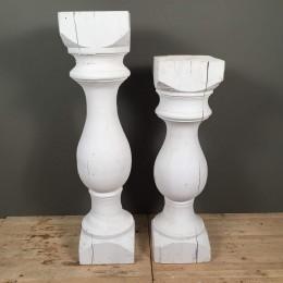 Λαμπάδες Γάμου Βάσεις Δύο Ανισόπεδοι Ξύλινοι Λευκοί Κίωνες