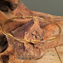 Στέφανα Γάμου Ασημένια Επίχρυσα Δύο Βέργες & Ξύλινη Rustic