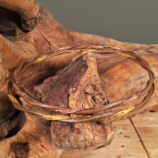 Στέφανα Γάμου Ασημένια Επιχρυσωμένη Σκαλισμένη Βέργα & Ξύλινη Ρουστίκ