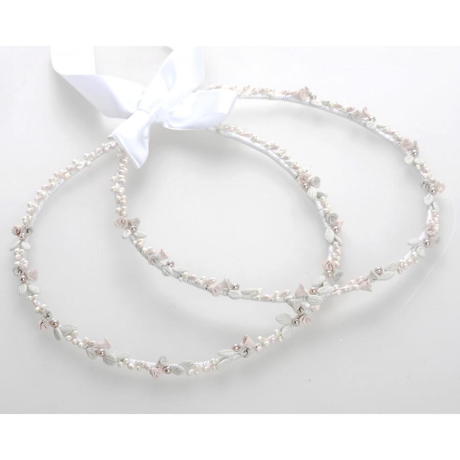 7ce9ff01d559 Στέφανα Γάμου Χειροποίητα Πορσελάνινα Λουλούδια Σάπιο Μήλο   Λευκά Πέρλες  ...
