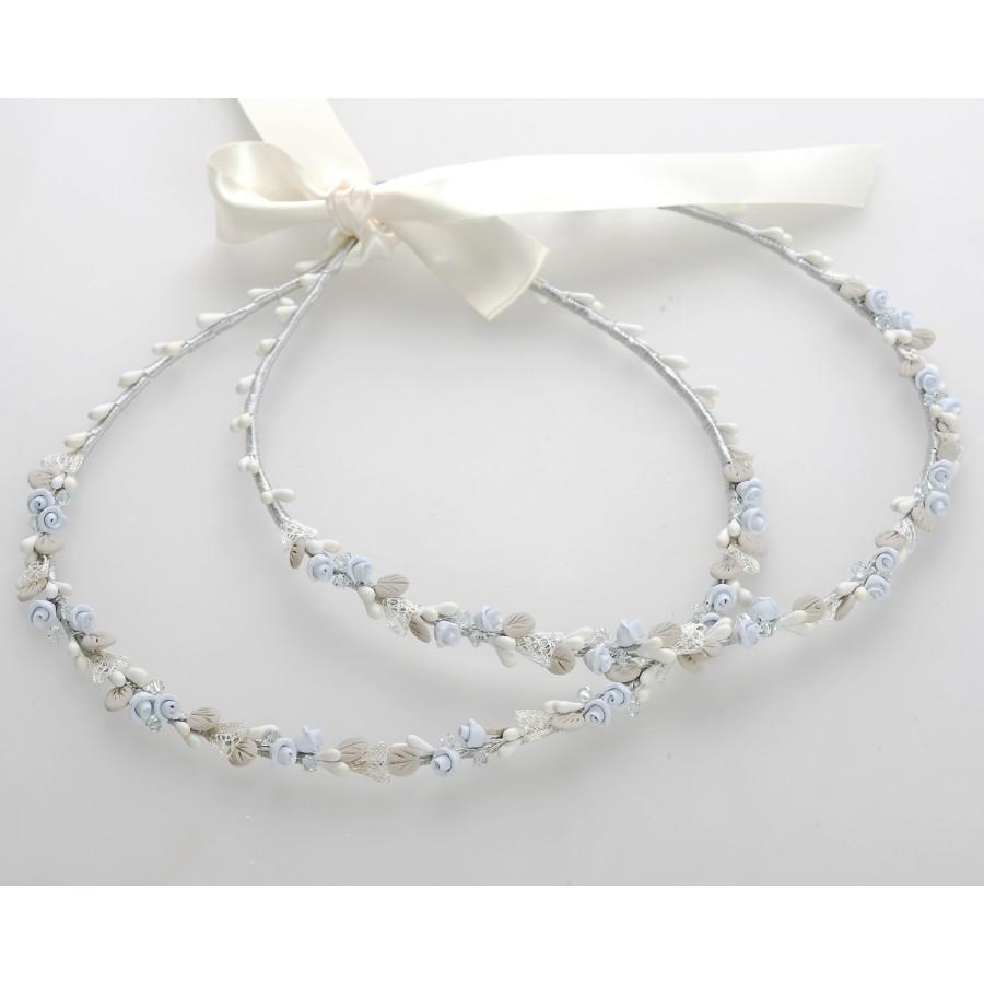 d1f72308b976 Στέφανα Γάμου Χειροποίητα Στολισμένα Γαλάζια Μόκα Πορσελάνινα Άνθη    Δαντέλα ...