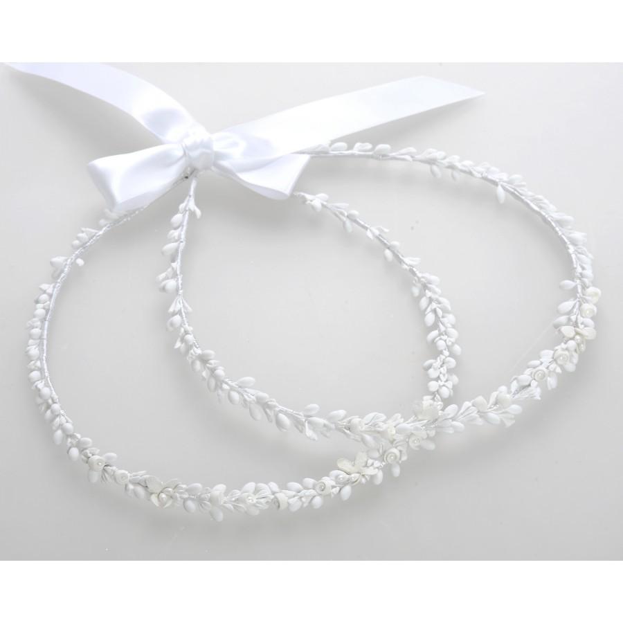 8bfce2e1c9f7 Στέφανα Γάμου Χειροποίητα Πορσελάνινα Λουλούδια Λευκά ...