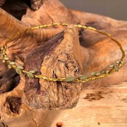 Στέφανα Γάμου Ασημένια Επίχρυσα Τρεις Βέργες Πορσελάνινα Φύλλα Ελιάς