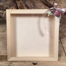 Ξύλινη Στεφανοθήκη Υφασμάτινα Λουλούδια Δαντέλα 25*25